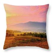 Mountain Morning Farm In Cades Cove Throw Pillow