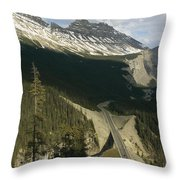 Mountain Peaks Along The Icefields Throw Pillow