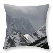 Mountain Peaks In Clouds, Spray Lakes Throw Pillow