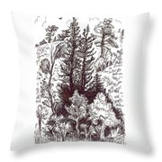 Mountain Pines And Aspen Field Sketch Throw Pillow