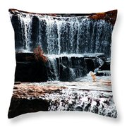 Mountain Stream Waterfall Throw Pillow