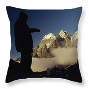 Mountaineers Rest At Their Campsite Throw Pillow