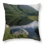 Mountains And Clouds Are Reflected Throw Pillow