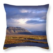 Mountains And Lakes, Dempster Highway Throw Pillow