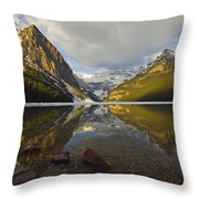 Mountains Reflected In Lake Louise Throw Pillow