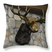 Mounted Moose Throw Pillow