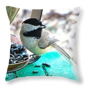 Mouth Full Chickadee Throw Pillow