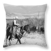 Moving The Herd-2 Throw Pillow