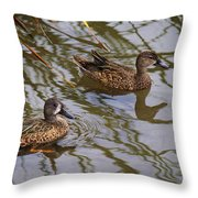 Mr And Mrs Blue Wing Teal Throw Pillow