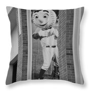 Mr Met In Black And White Throw Pillow