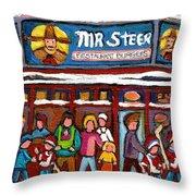 Mr Steer Restaurant Montreal Throw Pillow
