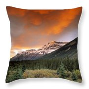 Mt. Amery And Dramatic Clouds, Banff Throw Pillow
