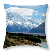 Mt Cook Across Lake Pukaki Throw Pillow