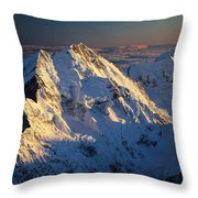 Mt Cook Or Aoraki And Mt Tasman, Aerial Throw Pillow