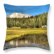 Mt Lassen Reflections Throw Pillow