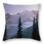 Mt Rainier As Seen At Sunrise Mt Throw Pillow