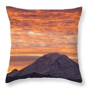 Mt Rainier December Sunrise Throw Pillow