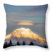 Mt Rainier Sunset With Lenticular Clouds Throw Pillow