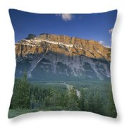 Mt Rundle And The Bow River Throw Pillow