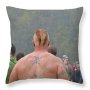 Mud Everywhere At The Mudder Throw Pillow