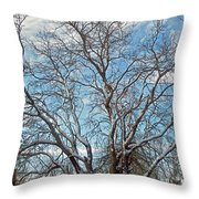 Mulberry Tree In Snow Throw Pillow