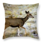 Mule Deer On The Move Throw Pillow