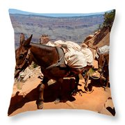 Mule Train Throw Pillow