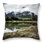 Muleshoe Pond Train Throw Pillow
