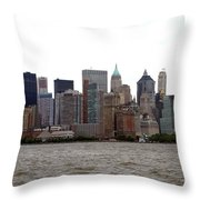 Multi Color Nyc Buildings Throw Pillow