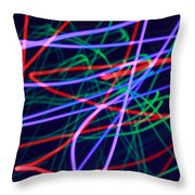 Multi-colored Glowing Light Streaks Throw Pillow