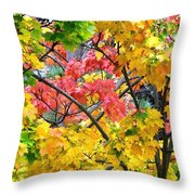 Multicolored Maple Throw Pillow