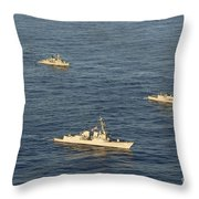 Multinational Navy Ships Move Throw Pillow