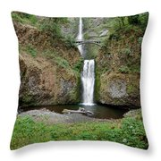 Multnomah Falls - Wide View Throw Pillow