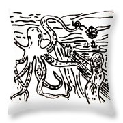 Munch On Octopussy A Tribute To Munch With Romantic Octopus Pier Screaming Boats Lake Flower Love Throw Pillow