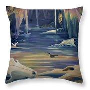 Mural Death In Autumn Throw Pillow