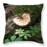 Mushroom Heart Forest Throw Pillow