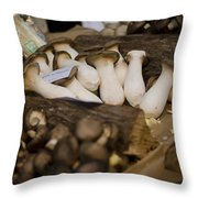 Mushrooms At The Market Throw Pillow by Heather Applegate