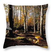 Mushrooms In A Forest Throw Pillow