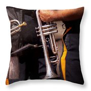 Music - Trumpet - Police Marching Band  Throw Pillow by Mike Savad