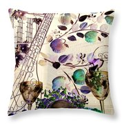 Music With Wine 3 Throw Pillow