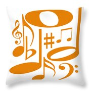 Musical Orange Throw Pillow
