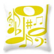 Musical Yellow Throw Pillow