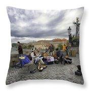 Musicians On The Charles Bridge - Prague Throw Pillow