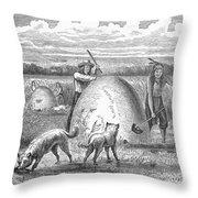 Muskrat Hunting, 1873 Throw Pillow