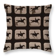 Muybridge Locomotion Horse Leaping Throw Pillow