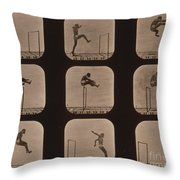 Muybridge Locomotion Of Man Jumping Throw Pillow by Photo Researchers