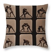 Muybridge Locomotion, Men Wrestling Throw Pillow