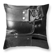 My Biker Cowboy Boot In Black And White Throw Pillow