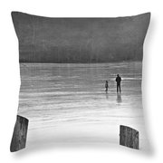 My First Walk On Water Bw Throw Pillow