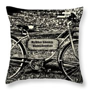 My Other Bike Is A Harley Davidson In Sepia Throw Pillow